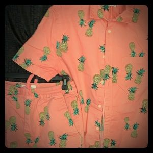 UO print button down with shorts